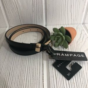 Women's Rampage Black Skinny Thin Belt L XL NWT